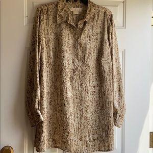 Michael Kors size 1X brown & tan tunic blouse